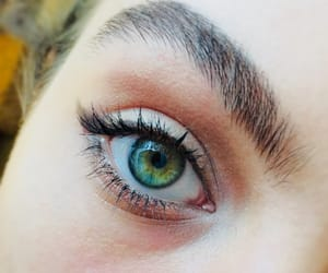 eyebrow, eyes, and green image