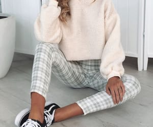 fashion, plaid, and white sweater image
