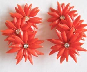 earrings, orange, and rhinestone image