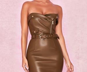 dress, leather, and fashion image