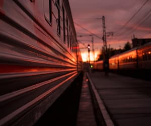 sunset, train, and night image