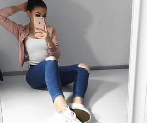 clothes, jeans, and mirror image