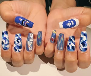 nails, bape, and blue image