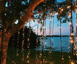 lights, beach, and sunset image