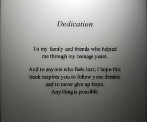 book, dedication, and mirror image