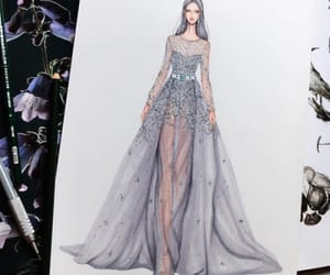 fashion ilustration, haute couture, and sketches image