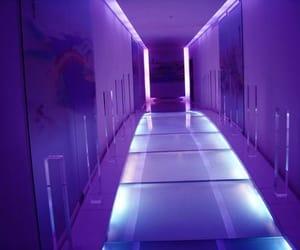 hallway, neon, and purple image