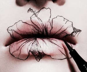 lips, art, and flowers image