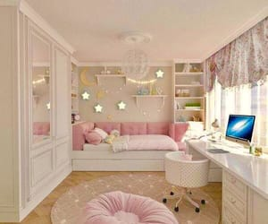 bedrooms, interior design, and pink image