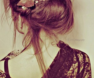 hair, girl, and butterfly image