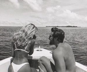 couple, black and white, and summer image