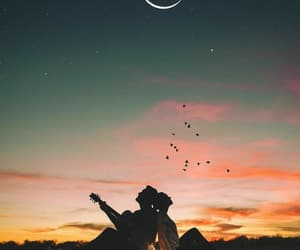 couple, love, and moon image