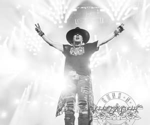 axl rose, black and white, and concert image