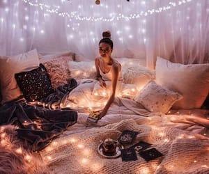 light, girl, and bedroom image