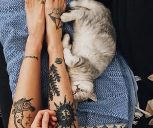 body, tattoo, and cat image