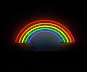 rainbow, black, and wallpaper image