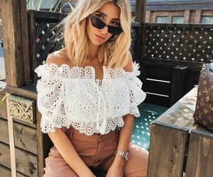 fashion, lace top, and street style image
