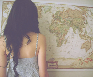 girl, map, and hair image