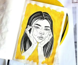 art, drawing, and yellow image