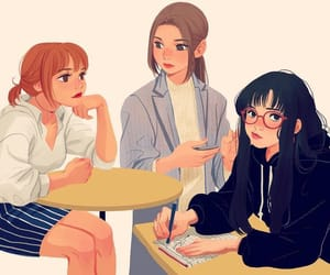 girls, art, and draw image