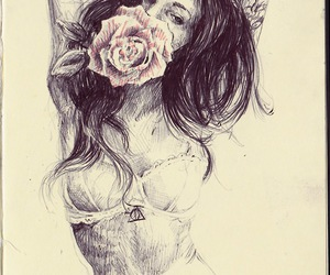 girl, rose, and drawing image