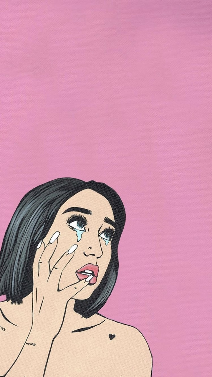 cry, drawing, and pink image