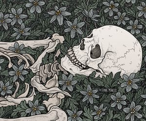 dark art, illustration, and skeleton drawing image
