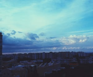 blue sky, city, and clouds image