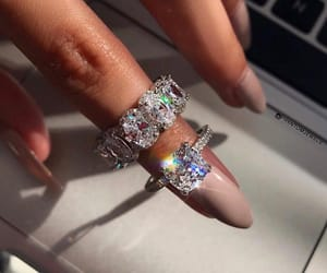 diamonds, engagement ring, and hers image
