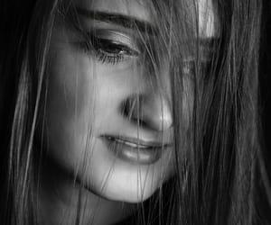 black&white, shy, and eyes image