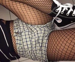 black converse, dark, and fishnets image
