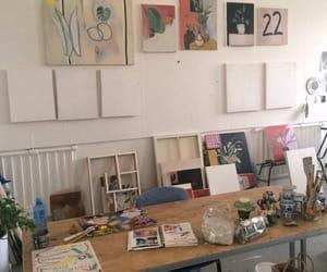 art, art studio, and paintings image