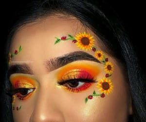 makeup, flowers, and sunflower image