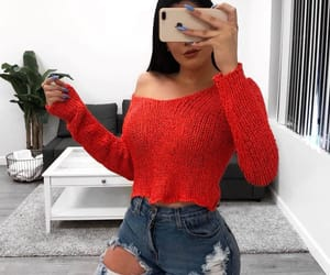 iphone, off the shoulder, and red shirt image