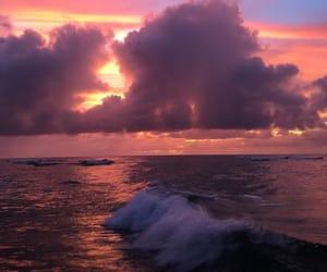 pink skies, beach, and waves image