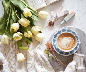 book, cappuccino, and coffee break image