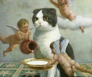 cat, angel, and art image