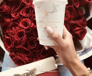 coffee, bouquet, and flowers image