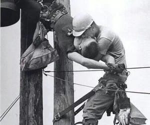 kiss, gay, and black and white image