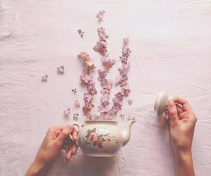 flowers, tea, and art image