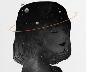 black and white, galaxy, and girl image