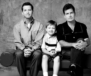 two and a half men, black and white, and charlie sheen image