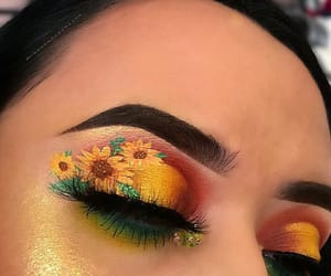 eye makeup, floral, and makeup image