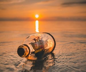beach, bottle, and light image
