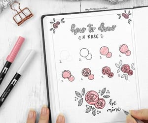 rose, notes, and bullet journal image