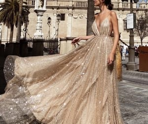 dress, gold, and Prom image
