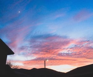 moon, pink, and purple sky image