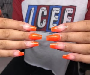 orange, red, and ombre nails image