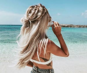 beach, girl, and beauty image