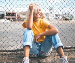 girl, fashion, and yellow image